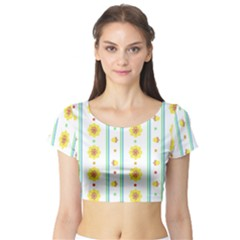 Beans Flower Floral Yellow Short Sleeve Crop Top (Tight Fit)