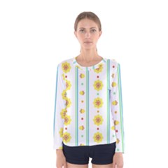Beans Flower Floral Yellow Women s Long Sleeve Tee