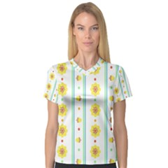 Beans Flower Floral Yellow Women s V Neck Sport Mesh Tee