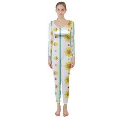 Beans Flower Floral Yellow Long Sleeve Catsuit