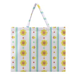 Beans Flower Floral Yellow Zipper Large Tote Bag