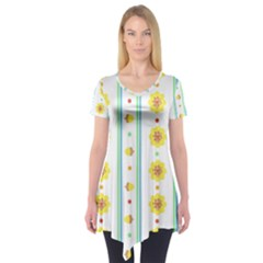 Beans Flower Floral Yellow Short Sleeve Tunic