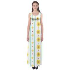 Beans Flower Floral Yellow Empire Waist Maxi Dress