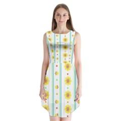 Beans Flower Floral Yellow Sleeveless Chiffon Dress