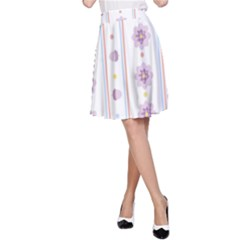 Beans Flower Floral Purple A-Line Skirt