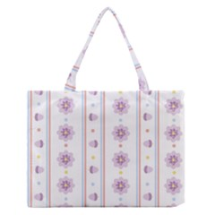 Beans Flower Floral Purple Medium Zipper Tote Bag