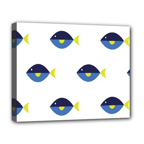 Blue Fish Swim Yellow Sea Beach Deluxe Canvas 20  x 16
