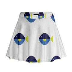 Blue Fish Swim Yellow Sea Beach Mini Flare Skirt