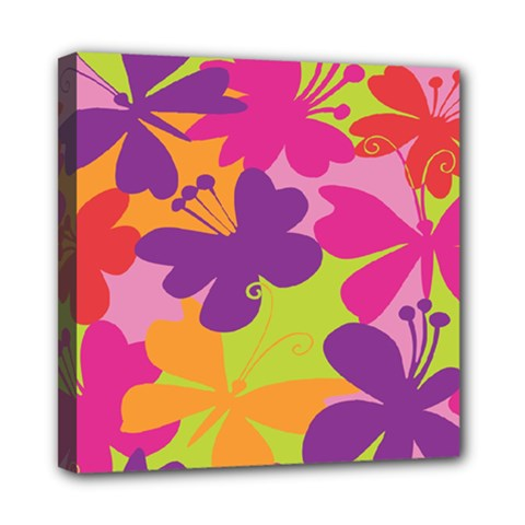Butterfly Animals Rainbow Color Purple Pink Green Yellow Mini Canvas 8  x 8
