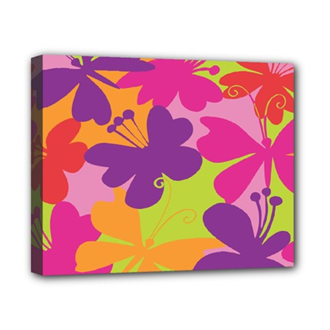 Butterfly Animals Rainbow Color Purple Pink Green Yellow Canvas 10  x 8