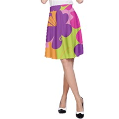 Butterfly Animals Rainbow Color Purple Pink Green Yellow A-Line Skirt