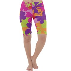 Butterfly Animals Rainbow Color Purple Pink Green Yellow Cropped Leggings