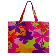 Butterfly Animals Rainbow Color Purple Pink Green Yellow Zipper Mini Tote Bag