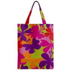 Butterfly Animals Rainbow Color Purple Pink Green Yellow Zipper Classic Tote Bag