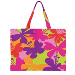 Butterfly Animals Rainbow Color Purple Pink Green Yellow Large Tote Bag