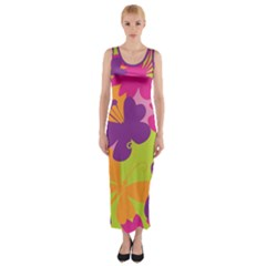 Butterfly Animals Rainbow Color Purple Pink Green Yellow Fitted Maxi Dress