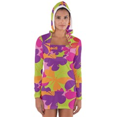 Butterfly Animals Rainbow Color Purple Pink Green Yellow Women s Long Sleeve Hooded T-shirt