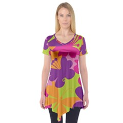 Butterfly Animals Rainbow Color Purple Pink Green Yellow Short Sleeve Tunic