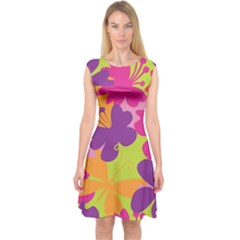 Butterfly Animals Rainbow Color Purple Pink Green Yellow Capsleeve Midi Dress