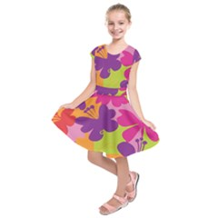 Butterfly Animals Rainbow Color Purple Pink Green Yellow Kids  Short Sleeve Dress