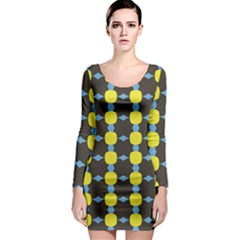 Blue Black Yellow Plaid Star Wave Chevron Long Sleeve Bodycon Dress