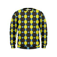 Blue Black Yellow Plaid Star Wave Chevron Kids  Sweatshirt