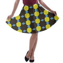 Blue Black Yellow Plaid Star Wave Chevron A-line Skater Skirt