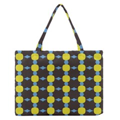 Blue Black Yellow Plaid Star Wave Chevron Medium Zipper Tote Bag