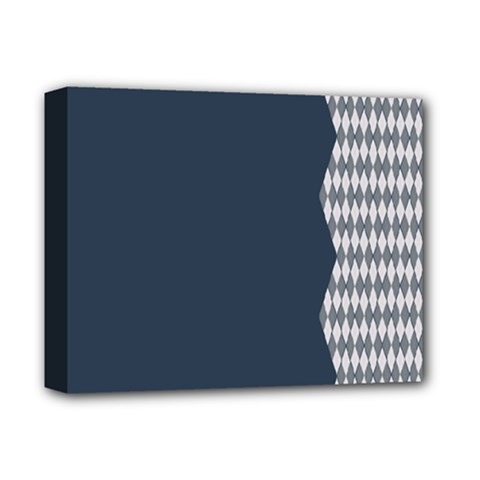 Argyle Triangle Plaid Blue Grey Deluxe Canvas 14  x 11