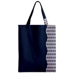 Argyle Triangle Plaid Blue Grey Zipper Classic Tote Bag