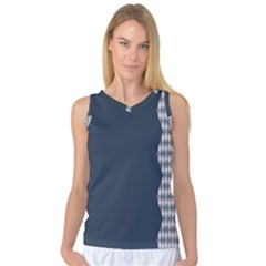 Argyle Triangle Plaid Blue Grey Women s Basketball Tank Top