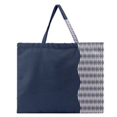 Argyle Triangle Plaid Blue Grey Zipper Large Tote Bag