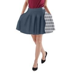 Argyle Triangle Plaid Blue Grey A-Line Pocket Skirt