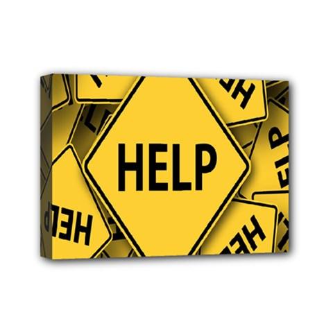 Caution Road Sign Help Cross Yellow Mini Canvas 7  x 5