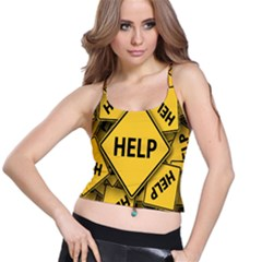 Caution Road Sign Help Cross Yellow Spaghetti Strap Bra Top