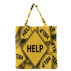 Caution Road Sign Help Cross Yellow Grocery Tote Bag