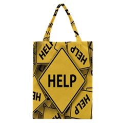 Caution Road Sign Help Cross Yellow Classic Tote Bag
