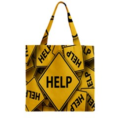 Caution Road Sign Help Cross Yellow Zipper Grocery Tote Bag