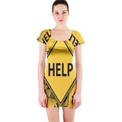 Caution Road Sign Help Cross Yellow Short Sleeve Bodycon Dress