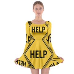 Caution Road Sign Help Cross Yellow Long Sleeve Skater Dress