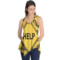 Caution Road Sign Help Cross Yellow Sleeveless Tunic