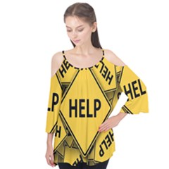 Caution Road Sign Help Cross Yellow Flutter Tees