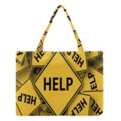 Caution Road Sign Help Cross Yellow Medium Tote Bag