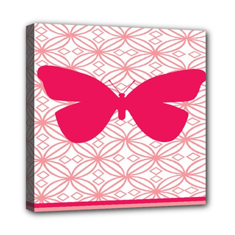 Butterfly Animals Pink Plaid Triangle Circle Flower Mini Canvas 8  x 8