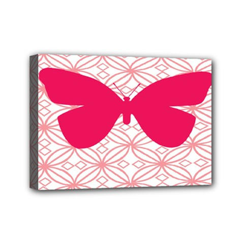 Butterfly Animals Pink Plaid Triangle Circle Flower Mini Canvas 7  x 5