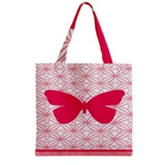 Butterfly Animals Pink Plaid Triangle Circle Flower Grocery Tote Bag