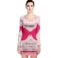 Butterfly Animals Pink Plaid Triangle Circle Flower Long Sleeve Bodycon Dress