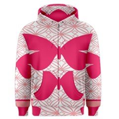 Butterfly Animals Pink Plaid Triangle Circle Flower Men s Zipper Hoodie