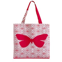 Butterfly Animals Pink Plaid Triangle Circle Flower Zipper Grocery Tote Bag