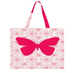 Butterfly Animals Pink Plaid Triangle Circle Flower Zipper Large Tote Bag